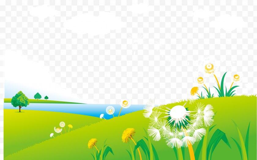 Grass - Dandelion Graphic Design Illustration - Yellow - Vector Spring Grassland Scenery Free PNG