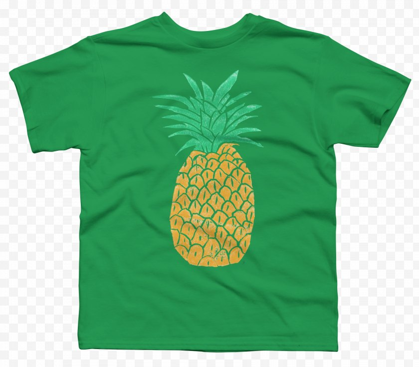 Top - T-shirt Sleeve Green Font - Tshirt - Hand Painted Pineapple Free PNG