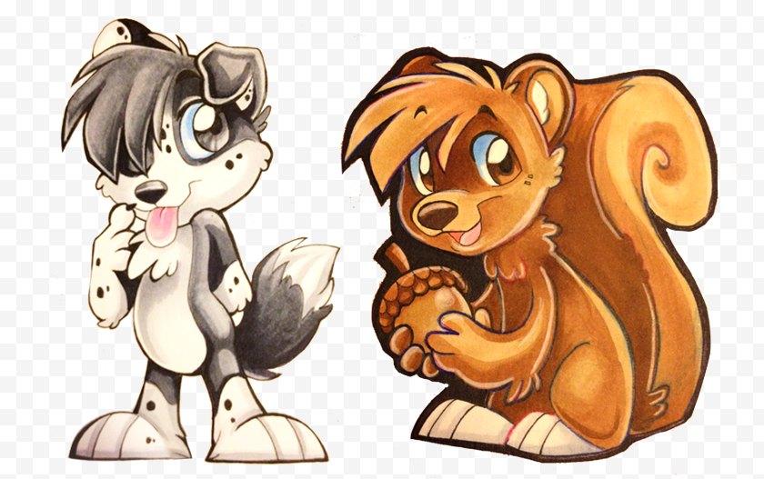Cat Like Mammal - Dog Cartoon Character - Tail Free PNG