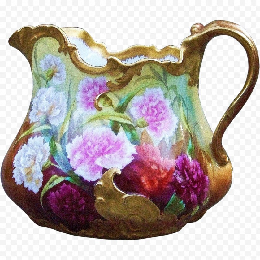 Purple - Jug Vase Porcelain Pottery Pitcher - Cup - Carnations Hand Painted Free PNG