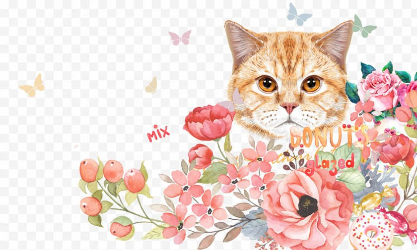 Rose - Kitten Cat Cuteness Wallpaper - Ink And Floral Background Free PNG