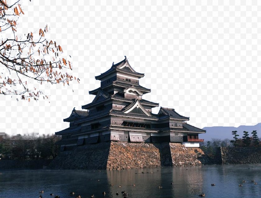 Reflection - Matsumoto Castle Hotel Morschein Building Japanese Architecture - Water - Japan's Classical Style Tower Free PNG