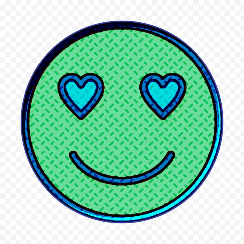 Smiley Icon - Emoticon Face Love - Facial Expression - Teal Yellow Free PNG