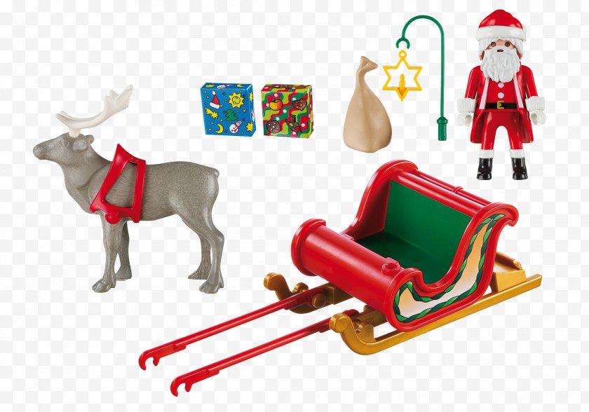 Santa Claus - Reindeer Playmobil Christmas Sled - Sleigh Free PNG