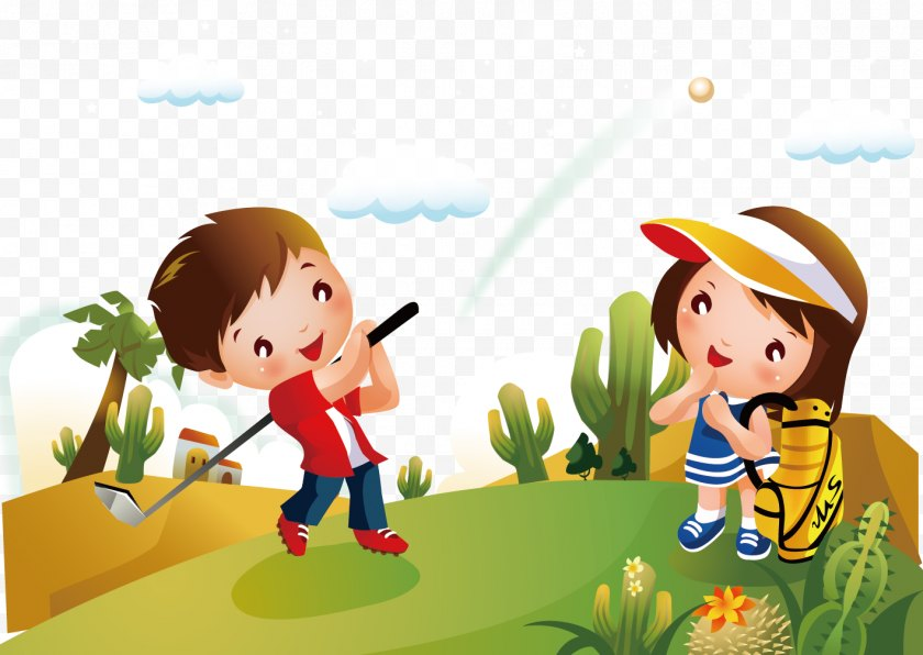 Golf Ball - Cartoon Child Clip Art - Plant Free PNG