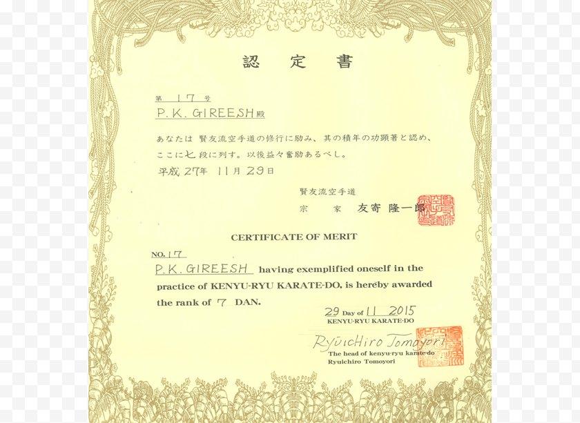 Karate - Shitō-ryū Kenyu-ryu Gōjū-ryū - Document Free PNG