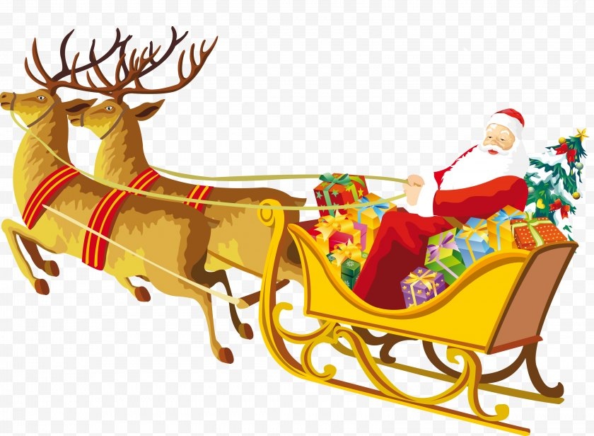 Christmas Decoration - Social Media Facebook Desktop Wallpaper - Deer - Santa Sleigh Free PNG