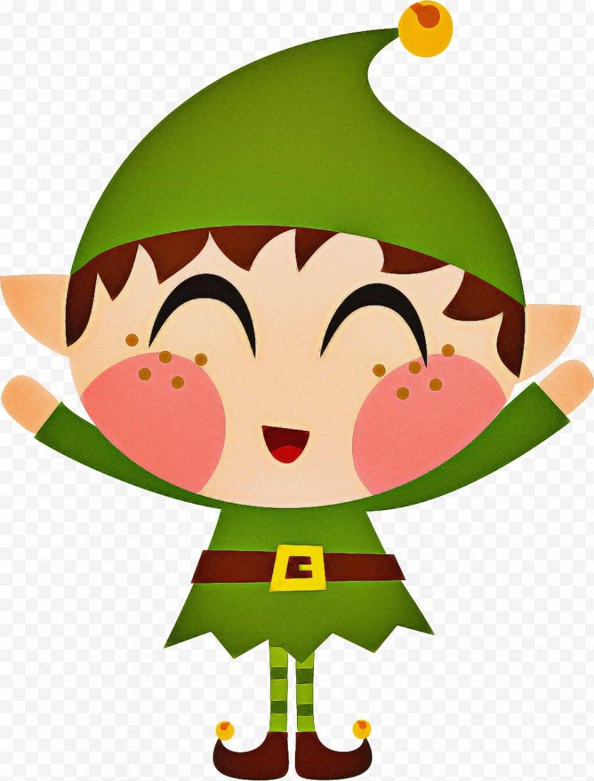 Clip Artholidays - Christmas Elf Cartoon - Day - Green Free PNG