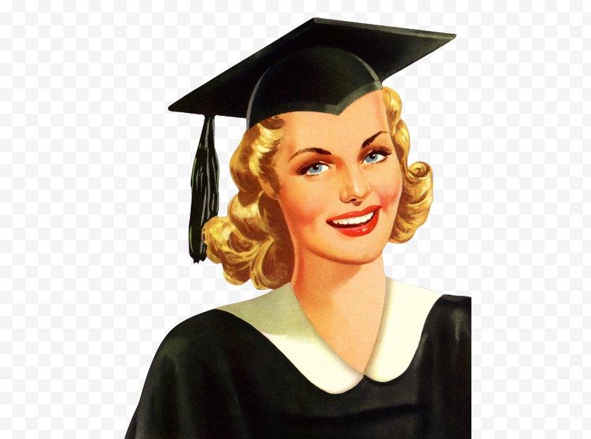 Hat - Graduation Ceremony Academic Dress Square Cap Diploma - Woman Free PNG