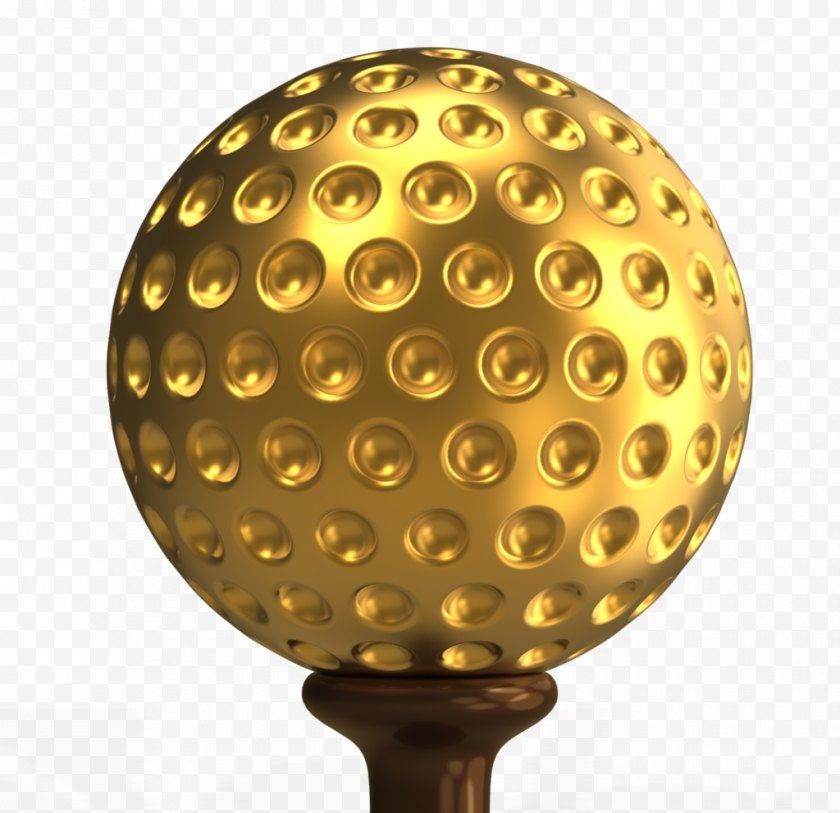 Golf - Ball 3D Computer Graphics - Threedimensional Space - Gold Free PNG