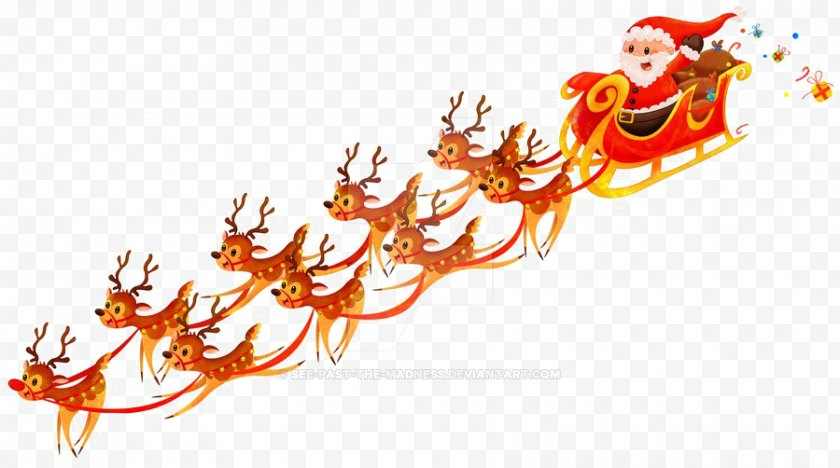 Santa Clauss Reindeer - Claus Sled Image - Fictional Character - Sleigh Background Free PNG