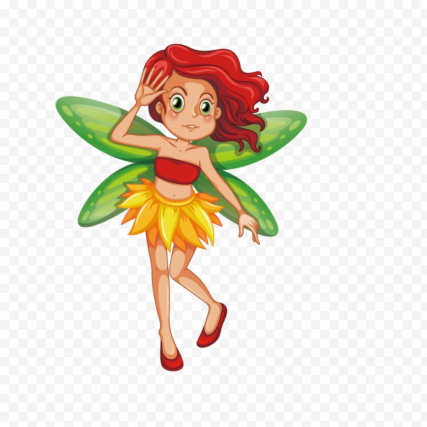 Flower Fairies - Fairy Royalty-free Illustration - Plant - Vector Painted Green Fashion Red Hair Wings Elf Free PNG